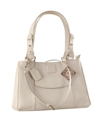 Dark, tall & handsome, Maya Collection YA824v1 by eZeeBags ladies leather handbag - stands tall in style & function - White.