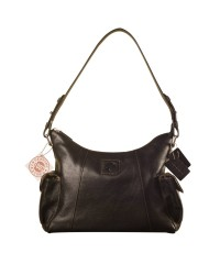 eZeeBags YA850v1 women's leather handbag. Large size, full width front, rear & 2 side pocket with adjustable shoulder strap - Black.