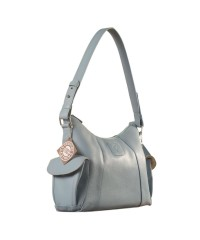 eZeeBags YA850v1 women's leather handbag. Large size, full width front, rear & 2 side pocket with adjustable shoulder strap - Blue.