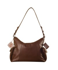 eZeeBags YA850v1 women's leather handbag. Large size, full width front, rear & 2 side pocket with adjustable shoulder strap - Brown.