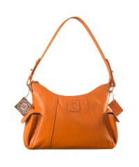 eZeeBags YA850v1 women's leather handbag. Large size, full width front, rear & 2 side pocket with adjustable shoulder strap - Orange.