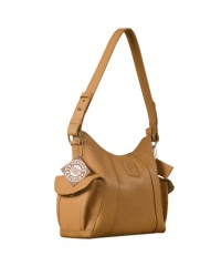 eZeeBags YA850v1 women's leather handbag. Large size, full width front, rear & 2 side pocket with adjustable shoulder strap - Tan.