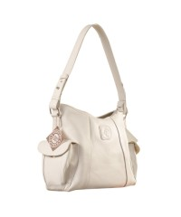 eZeeBags YA850v1 women's leather handbag. Large size, full width front, rear & 2 side pocket with adjustable shoulder strap - White.