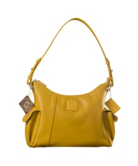 eZeeBags YA850v1 women's leather handbag. Large size, full width front, rear & 2 side pocket with adjustable shoulder strap - Yellow.