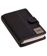 "Compact Pure Leather Organizer / Planners ,,the brown book"" MI Series - Black."