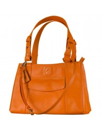 Dark, tall & handsome, Maya Collection YA824v1 by eZeeBags ladies leather handbag - stands tall in style & function - Orange.