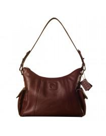 eZeeBags YA850v1 women's leather handbag. Large size, full width front, rear & 2 side pocket with adjustable shoulder strap - Burgundy.