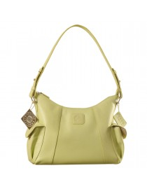 eZeeBags YA850v1 women's leather handbag. Large size, full width front, rear & 2 side pocket with adjustable shoulder strap - Green.