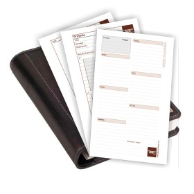 "Planner refill sheets for ,,the brown book"" MD Series. Undated, page-a-day format."